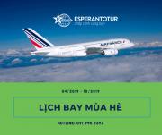 LỊCH BAY MÙA HÈ 2019 CỦA AIR FRANCE