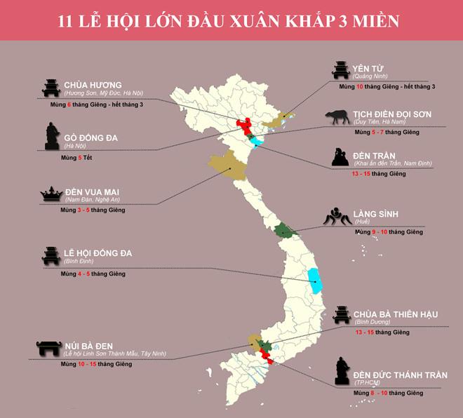 Bản đồ lễ hội Xuân Việt Nam