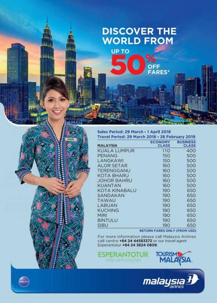 MALAYSIA AIRLINES GIẢM GIÁ VÉ ĐẾN 50 % TẠI VITM 2018
