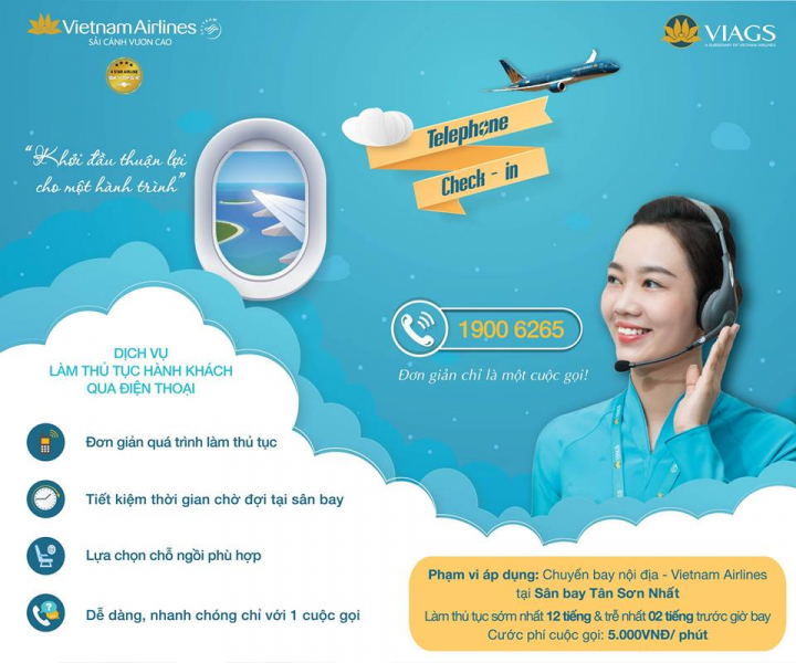 TELEPHONE CHECK – IN, DỊCH VỤ TIỆN ÍCH CỦA VIETNAM AIRLINES