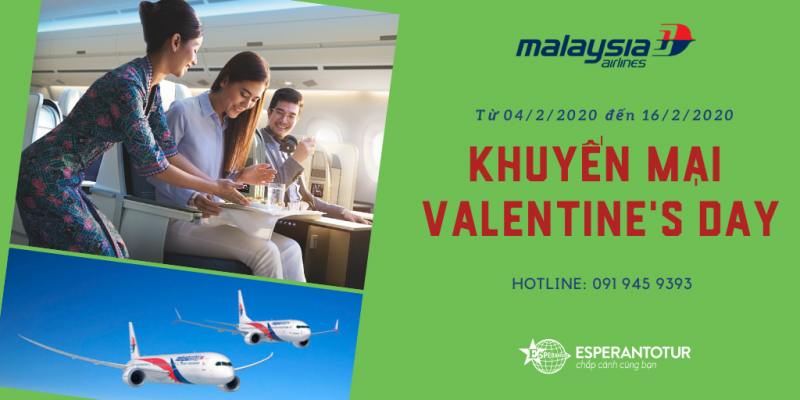 MALAYSIA AIRLINES MỞ BÁN KHUYẾN MẠI VALENTINE'S DAY