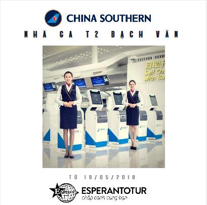 CHINA SOUTHERN AIRLINES CHUYỂN SANG NHÀ GA T2 SÂN BAY BẠCH VÂN – QUẢNG CHÂU TỪ 19/5/2018