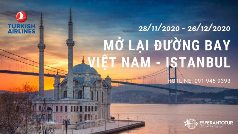 TURKISH AIRLINES KHỞI ĐỘNG LẠI ĐƯỜNG BAY HÀ NỘI – ISTANBUL TỪ NGÀY 28/11/2020
