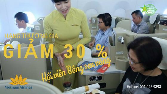 GIẢM 30 %  HẠNG THƯƠNG GIA CHO HỘI VIÊN BÔNG SEN VÀNG VIETNAM AIRLINES