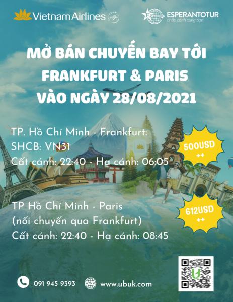 VIETNAM AIRLINES MỞ BÁN CHUYẾN BAY TỚI FRANKFURT & PARIS VÀO NGÀY 28/08/2021