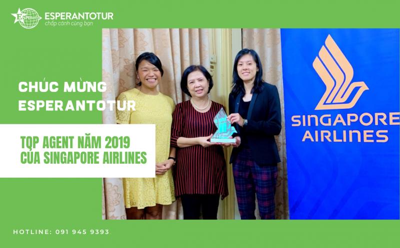 ESPERANTOTUR ĐẠT DANH HIỆU TOP ĐẠI LÝ XUẤT SẮC NĂM 2019 CỦA SINGAPORE AIRLINES