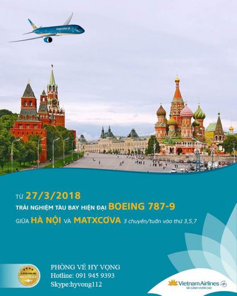 BOEING 787-9 CỦA VIETNAM AIRLINES SẢI CÁNH BAY TRÊN ĐƯỜNG BAY GIỮA HÀ NỘI - MOSCOW