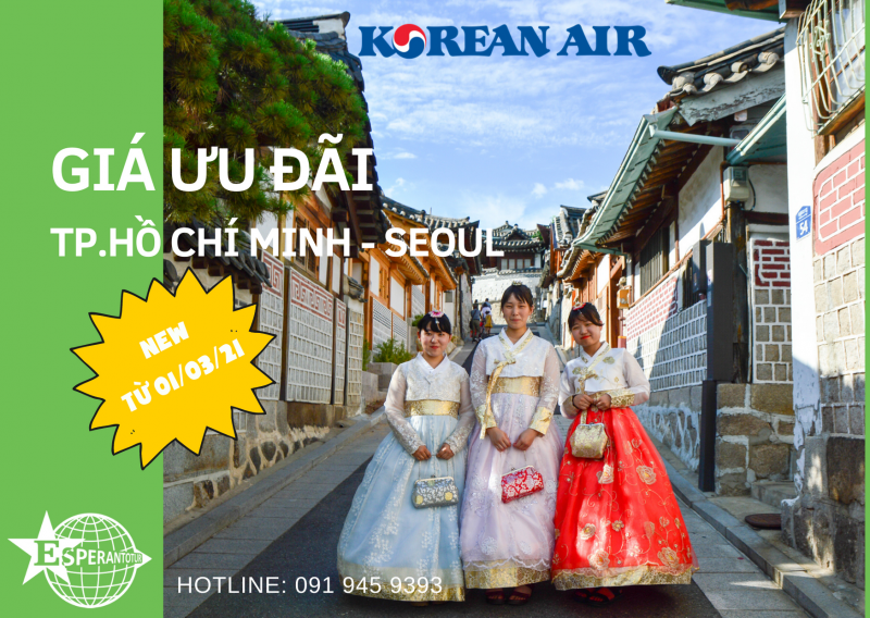 KOREAN AIR MỞ BÁN GIÁ ƯU ĐÃI CHẶNG BAY TP. HỒ CHÍ MINH – SEOUL