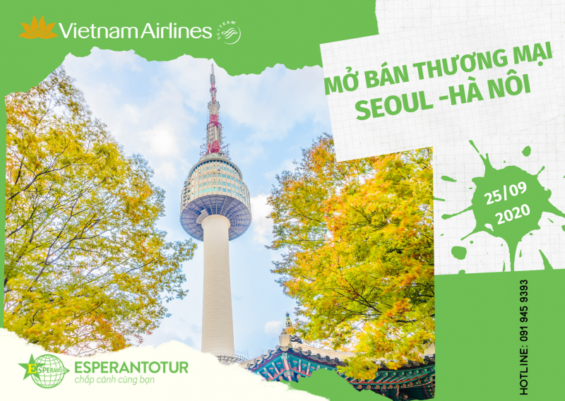 VIETNAM AIRLINES MỞ BÁN THƯƠNG MAI CHUYẾN BAY SEOUL – HÀ NỘI NGÀY 25/09/2020
