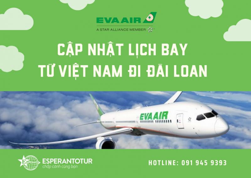 EVA AIR CÂP NHẬT LỊCH BAY TỪ VIỆT NAM ĐI ĐÀI LOAN